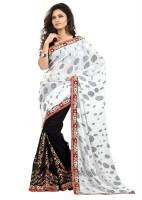 Majestic Silk Self Design Fashion Brasso Saree(Black, White)