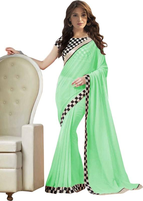 Khantil Printed Fashion Georgette Saree(Green)