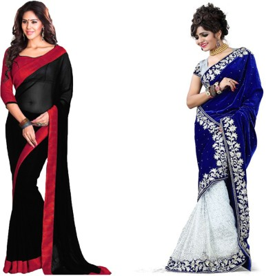 MA Solid Fashion Georgette, Velvet Sari