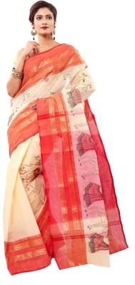 Rudrakshhh Embroidered Tant Handloom Cotton Saree(Red) at flipkart