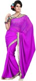 Cenizas Solid Fashion Chiffon Saree (Pur...