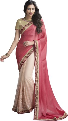 Moh Manthan Self Design Fashion Satin, Chiffon, Net Sari