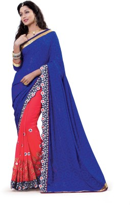 Laajjo Embriodered Fashion Chiffon, Georgette Sari