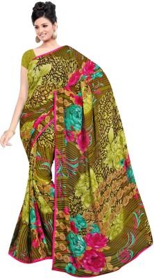 Maxusfashion Striped, Floral Print Bollywood Georgette Sari