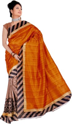 Moon Sarees Solid, Striped, Printed Bhagalpuri Handloom Silk Sari