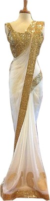Lady Berry Embroidered Fashion Georgette Saree(White) at flipkart