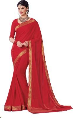 Srinidhi Silks Plain Bollywood Crepe Sari
