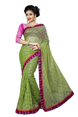 Ridhi Sidhi Self Design, Embriodered Fashion Brasso, Net Sari