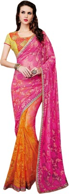 Amayra Fashions Solid, Embellished, Embriodered Fashion Georgette Sari