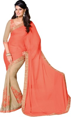 Queenbee Embriodered, Self Design Fashion Georgette Sari