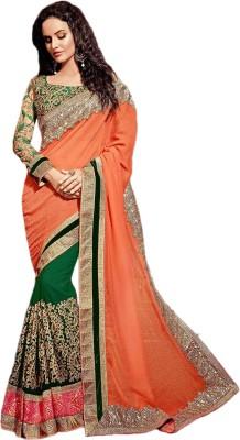 Manish Creation Embellished, Embriodered Bollywood Silk, Georgette, Jacquard Sari