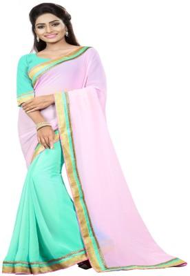 Om sai creation Solid Banarasi Georgette Sari
