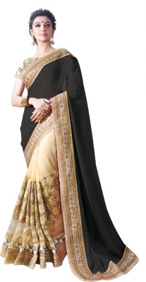 Chirag Sarees Embroidered Bollywood Georgette Sari(Black)