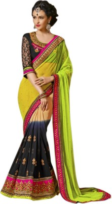 Zabme Self Design Fashion Net Sari