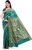 Ishin Printed Art Silk Saree (Green)