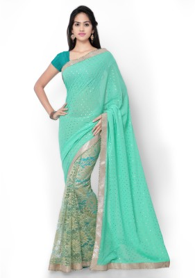 Shree Parmeshwari Self Design Bollywood Net, Synthetic Georgette Sari