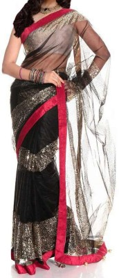 Giyya Fashion Embriodered, Solid Bollywood Handloom Net Sari