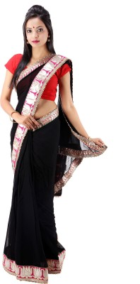 Laxmi Kripa Solid Fashion Handloom Georgette Sari