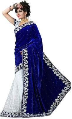 leepsprints Embriodered Bollywood Velvet Sari