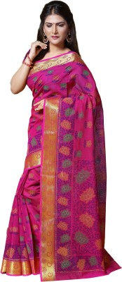 M.S.Retail Printed Gadwal Cotton Saree(Pink) at flipkart