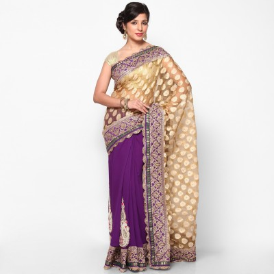 Balaji Creations Self Design Fashion Georgette, Silk Sari