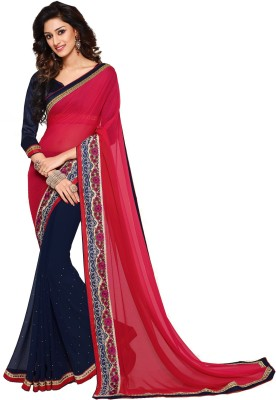 Palav Fabrics Embellished, Embriodered, Solid Fashion Georgette Sari