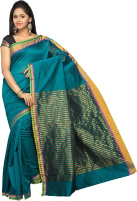 Korni Solid, Striped Banarasi Cotton, Silk Saree(Green) at flipkart