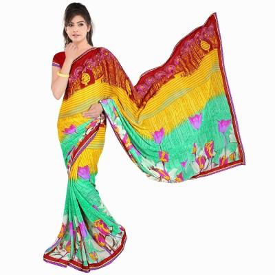 Lauren Creation Self Design Fashion Synthetic Chiffon Sari