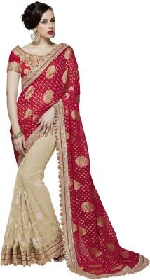 Mahotsav Embroidered Fashion Net Saree(Beige) at flipkart