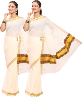 Swadesh Kasavu Self Design Fashion Cotton Sari