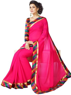 Desi Look Embriodered, Solid, Printed, Embellished Fashion Georgette Sari