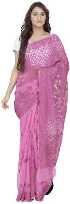 Chikinmania Embriodered Lucknow Chikankari Georgette Sari