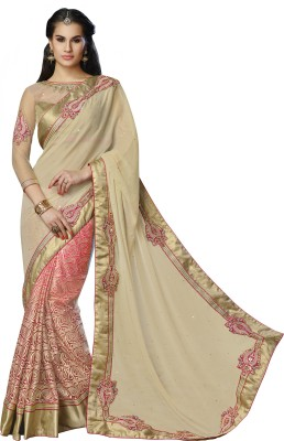 Moh Manthan Self Design Fashion Georgette, Net Sari