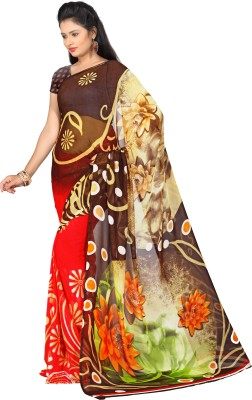 Aayna Printed Fashion Handloom Synthetic Fabric Sari