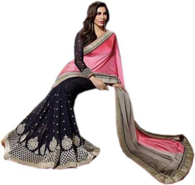 mGm Creation Self Design Bollywood Jacquard, Georgette Sari