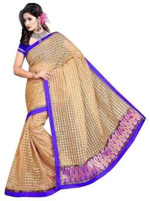 Mahalaxmi Fashion Checkered Bollywood Handloom Silk Cotton Blend Sari