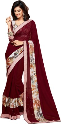 Palav Fabrics Embellished, Embriodered, Solid, Printed, Floral Print Fashion Georgette Sari