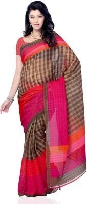 JTInternational Checkered Fashion Art Silk Sari