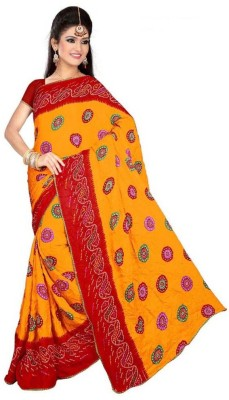 Ustaad Embriodered Daily Wear Crepe Sari