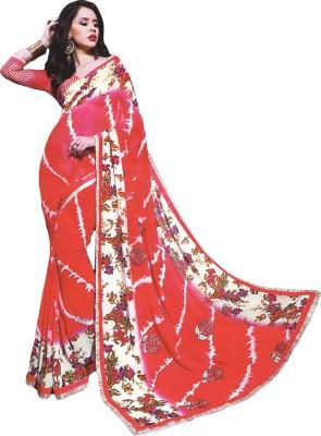 BPS Floral Print, Embriodered, Embellished Fashion Georgette Sari