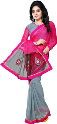 Vruticreation Self Design, Embriodered Fashion Lycra, Net, Georgette Sari