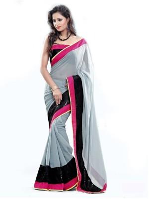Raghuveer Fashion Plain Daily Wear Chiffon Sari