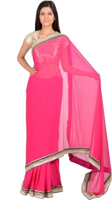 Manshvi Fashion Plain Daily Wear Synthetic Chiffon Sari