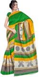 Varibha Plain Fashion Silk Saree (Green)