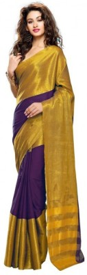 Mukesh Embellished Fashion Handloom Cambric, Silk Cotton Blend Sari
