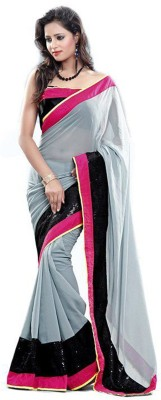 Vivels Enterprise Solid Bollywood Georgette Sari
