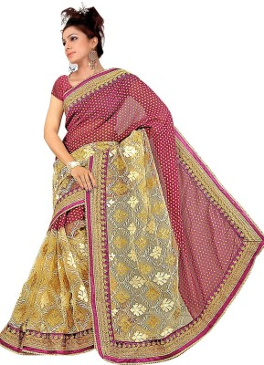 SADHANA IMPEX Solid Bollywood Pure Georgette Sari