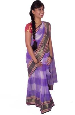 S.B Textiles Checkered Tant Handloom Cotton Linen Blend Sari