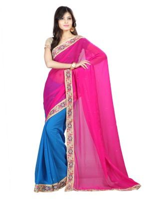 Sanskar Fashion Self Design Bollywood Pure Chiffon Sari(Purple, Blue) at flipkart