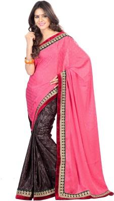 Srutika Self Design, Embriodered Fashion Synthetic Georgette Sari